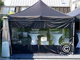 Pop up gazebo FleXtents PRO 3x6 m Black, Flame retardant, incl. 6 sidewalls - 3