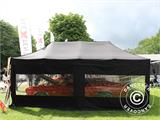 Pop up gazebo FleXtents PRO 3x6 m Black, Flame retardant, incl. 6 sidewalls - 75