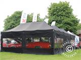 Pop up gazebo FleXtents PRO 3x6 m Black, Flame retardant, incl. 6 sidewalls - 76