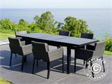 Garden furniture set, Miami, 1 table + 6 chairs, Black/Grey - 9