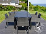 Garden furniture set, Miami, 1 table + 6 chairs, Black/Grey - 11