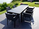 Garden furniture set, Miami, 1 table + 6 chairs, Black/Grey - 15