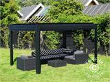 Sidewall screen f/pergola gazebo San Pablo, 4 m, Black - 1