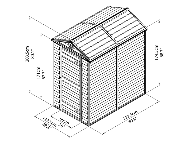 Caseta de jardín de policarbonato, SkyLight, 1,23x1,78x2,04m ...