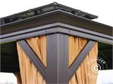 Gazebo San Bruno w/curtains and mosquito net, 3x4 m, Brown - 4