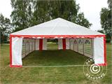 Partyzelt Exclusive 6x10m PVC, Rot/Weiß - 3