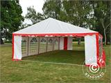 Partyzelt Exclusive 6x10m PVC, Rot/Weiß - 4