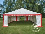 Marquee Exclusive 6x12 m PVC, Red/white - 3