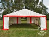 Tente de réception Original 6x8m PVC, Rouge/Blanc - 4
