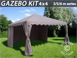 Solution SmartPack 2 en 1: Tente de réception Exclusive 6x12m, Blanc/tonnelle 4x4m, sable - 7