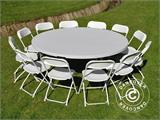 Round folding table Ø 183 cm, Light grey (1 pcs.) - 9