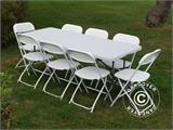 Party package, 1 folding table (182 cm) + 8 chairs & 8 Seat cushions, Light grey/White - 2