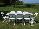 Party package, 1 folding table (182 cm) + 8 chairs & 8 Seat cushions, Light grey/White - 5