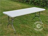 Party package, 1 folding table (182 cm) + 8 chairs & 8 Seat cushions, Light grey/White - 17