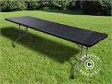 Table pliante 242x76x74cm, Noir (1 pce) - 2