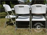 Party package, 1 folding table (153 cm) + 4 chairs, Light grey - 2