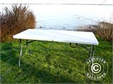 Party package, 1 folding table (153 cm) + 4 chairs, Light grey - 8