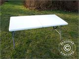 Party package, 1 folding table (153 cm) + 4 chairs, Light grey - 9