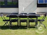 Party package, 1 folding table (182 cm) + 8 chairs, Black - 1