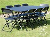 Party package, 1 folding table (182 cm) + 8 chairs, Black - 3