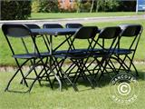 Party package, 1 folding table (182 cm) + 8 chairs, Black - 4