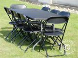 Party package, 1 folding table (182 cm) + 8 chairs, Black - 5