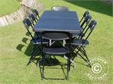 Party package, 1 folding table (182 cm) + 8 chairs, Black - 7