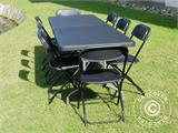 Party package, 1 folding table (182 cm) + 8 chairs, Black - 8