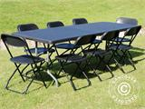 Party package, 1 folding table (242 cm) + 8 chairs, Black - 1