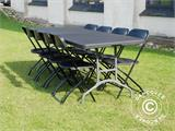 Party package, 1 folding table (242 cm) + 8 chairs, Black - 2