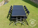 Party package, 1 folding table (242 cm) + 8 chairs, Black - 3