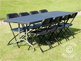 Party package, 1 folding table (242 cm) + 8 chairs, Black - 4