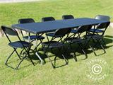 Party package, 1 folding table (242 cm) + 8 chairs, Black - 5