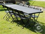 Party package, 1 folding table (242 cm) + 8 chairs, Black - 6