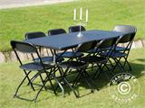 Party package, 1 folding table (242 cm) + 8 chairs, Black - 7
