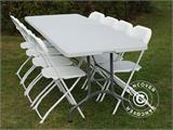 Party package, 1 folding table (242 cm) + 8 chairs, Light grey/White - 2