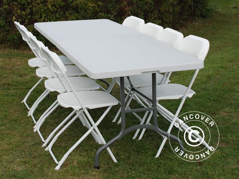 Tavolo Pieghevole Bianco : Pacchetto party tavolo pieghevole cm sedie grigio