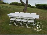 Party package, 1 folding table (242 cm) + 8 chairs, Light grey/White - 9