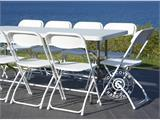 Party package, 1 folding table (242 cm) + 8 chairs, Light grey/White - 23