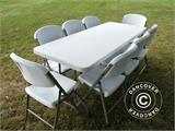 Party package, 1 folding table PRO (182 cm) + 8 chairs, Light grey/White - 1