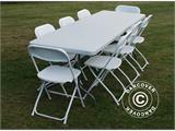 Party package, 1 folding table (242 cm) + 8 chairs, Light grey/White - 5
