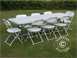 Party package, 1 folding table (242 cm) + 8 chairs, Light grey/White - 6