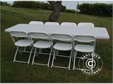 Party package, 1 folding table (242 cm) + 8 chairs, Light grey/White - 8