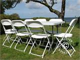 Party package, 1 folding table (182 cm) + 8 chairs & 8 Seat cushions, Light grey/White - 1