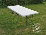 Party package, 1 folding table (182 cm) + 8 chairs & 8 Seat cushions, Light grey/White - 16