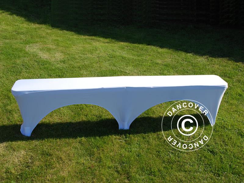 Housse De Banc Extensible 183x28x43cm Blanc