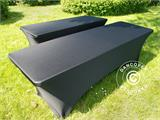 Stretch table Cover, 244x75x74 cm, Black - 12