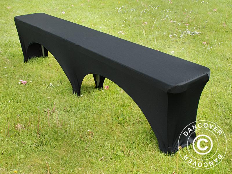 housse de banc extensible 183x28x43cm noir dancovershop fr. Black Bedroom Furniture Sets. Home Design Ideas