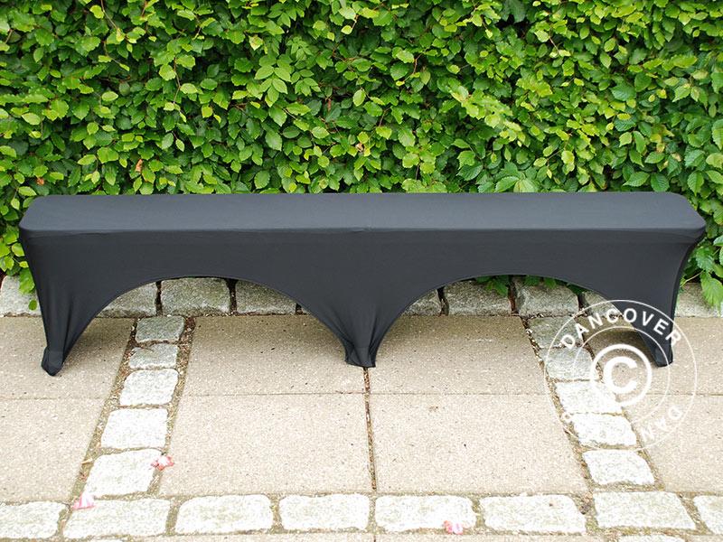 Housse De Banc Extensible 183x28x43cm Noir