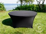 Stretch table cover, Ø152x74cm, Black - 6